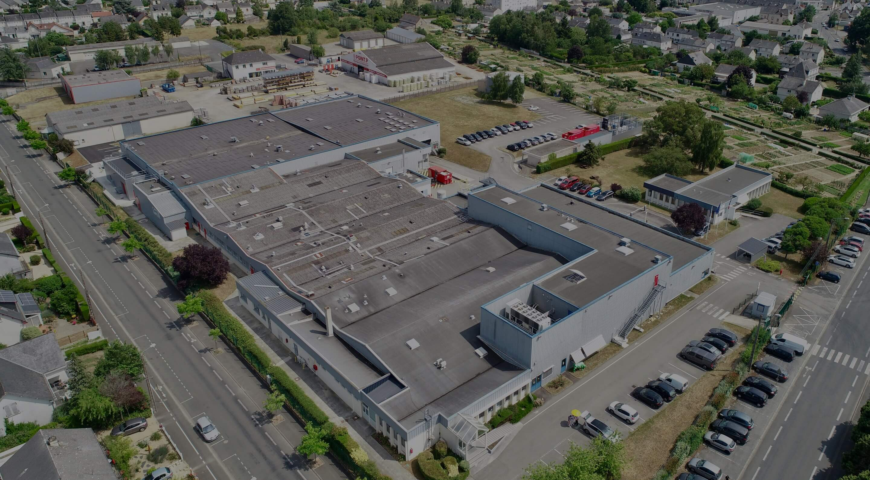 Aerial Photograph of TriRx Segré, France Facility - Sterile and Non-Sterile Liquid & Semi Solid Animal Health Contract Manufacturing and Packaging